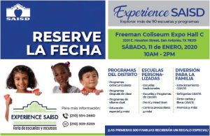 Experience SAISD save-the-date postcard in Spanish