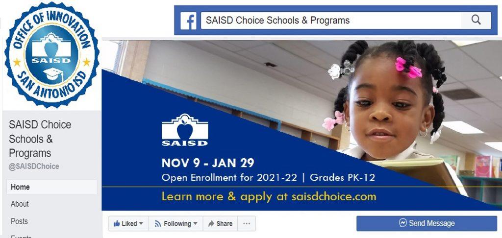 Screenshot of SAISD Choice Schools & Programs Facebook page